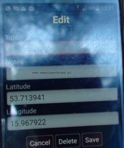 Dane GPS źródła Regi